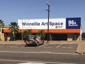 WINNELLIE ART SPACE_SIGNWRITING TO CORRUGATED IRON