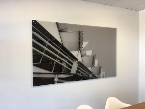 printed grey scale acrylic with stainless mounts