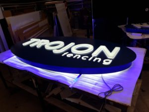trojon fencing darin elipse led sign